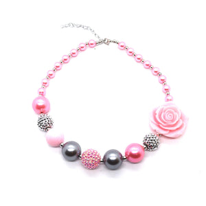 Pink Rose Bubble Gum bead Necklace