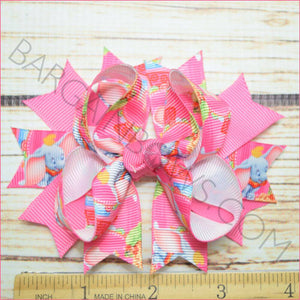 Pink Dumbo Character Bow in 3.5 inch size