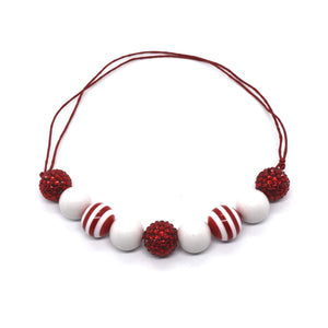 Red Stripe Bubble Gum bead Necklace