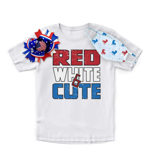 Red White and Cute Shirt Bow Mask Combo