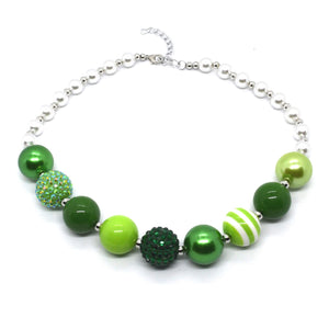 Spring Green Bubble Gum bead Necklace