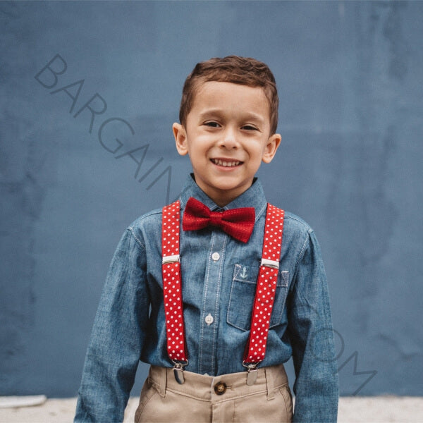 Simple /& Elegant Suspender and Bow Tie Set for Boys Girls Children Red Mix PD