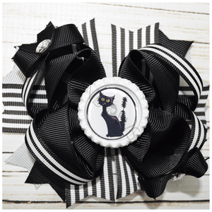 Hocus Pocus Kitty Halloween Boutique Bow, hair bows BargainBows