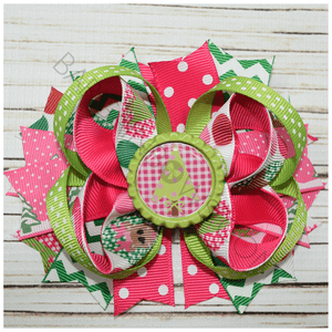 Pink Christmas Holiday Boutique Bow, hair bows BargainBows