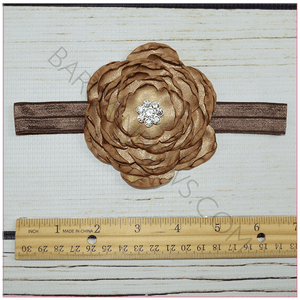 Sophie Satin Flower Headband (Brown) - BargainBows