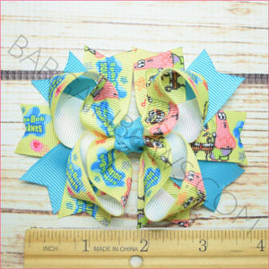 Spongebob Character Bow in 3.5 inch size