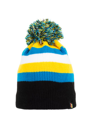 Black, Blue, Yellow and White Hat
