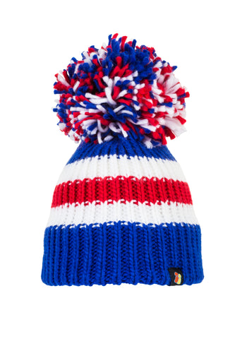 Blue, Red and White Big Bobble Hat