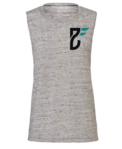 Base Fitness White Marble Muscle Tank