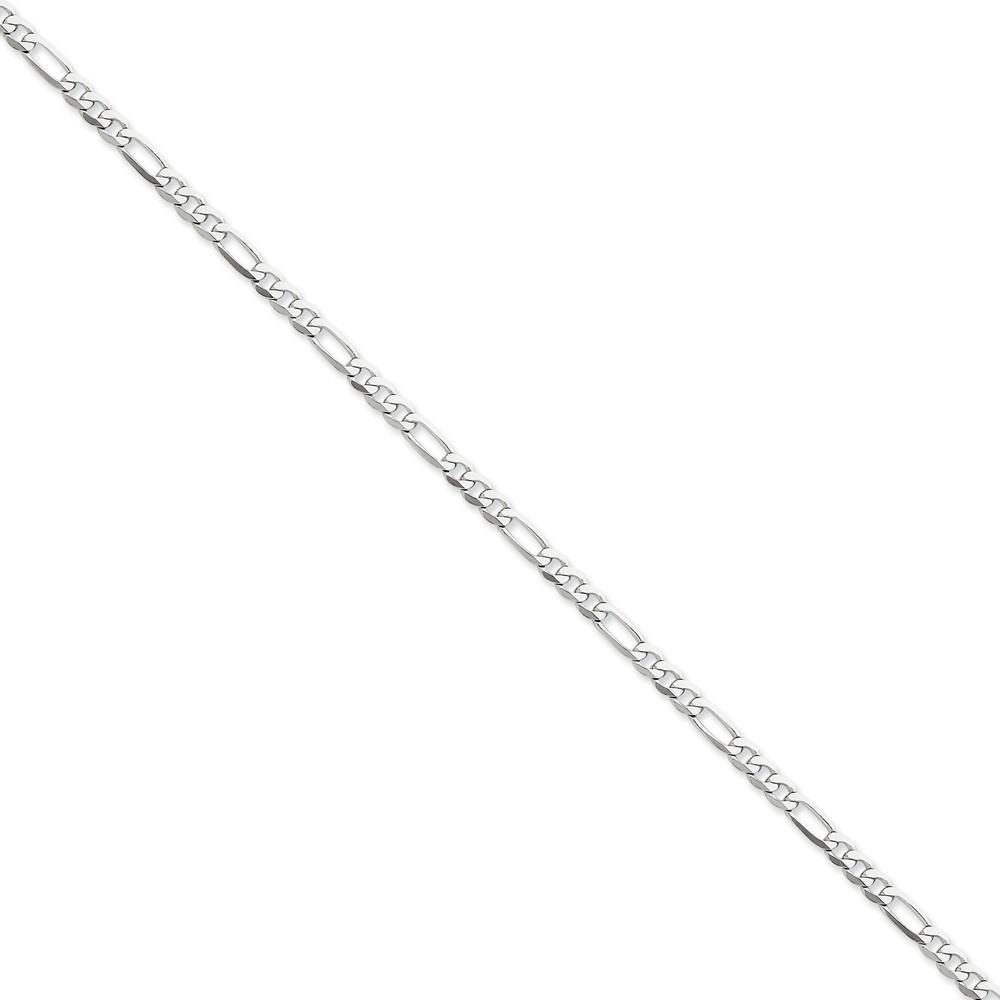 Chains 14k White Gold 4.00-mm Flat Solid Figaro Chain