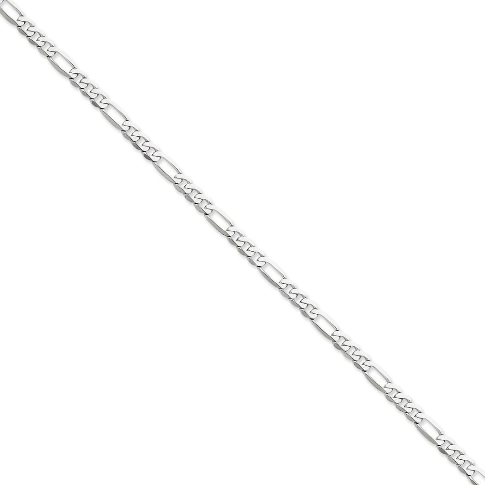 Chains 14k White Gold 5.00-mm Flat Solid Figaro Chain
