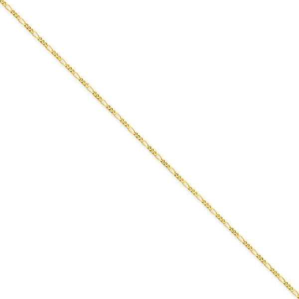 10 in 14 kt Yellow Gold Length 14k 1.25mm Spiga Chain Anklet