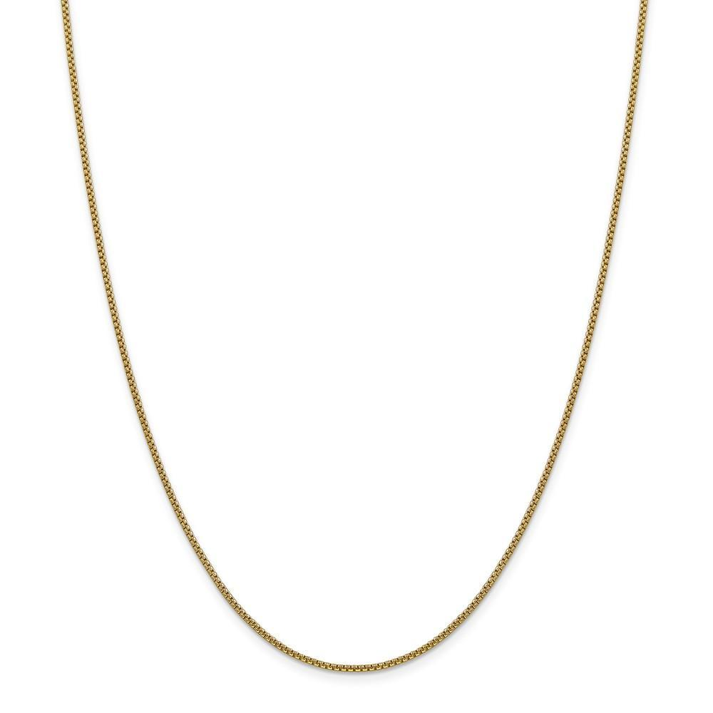 Chains 14k Yellow Gold 1.50mm Hollow Round Box Chain