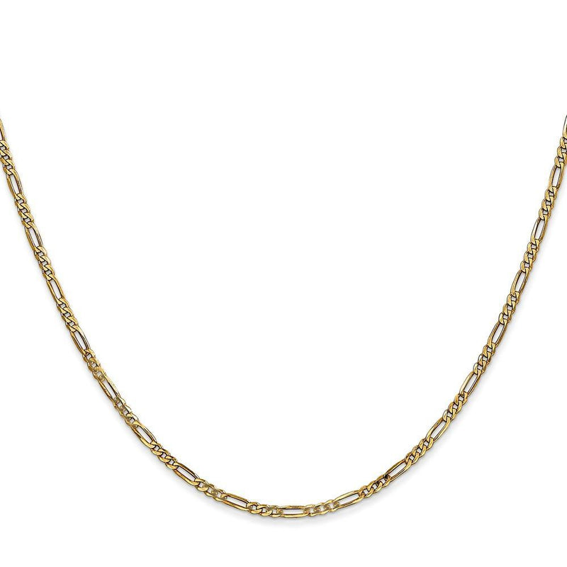 Bracelets 14k Yellow Gold 1.80-mm Flat Solid Figaro Chain