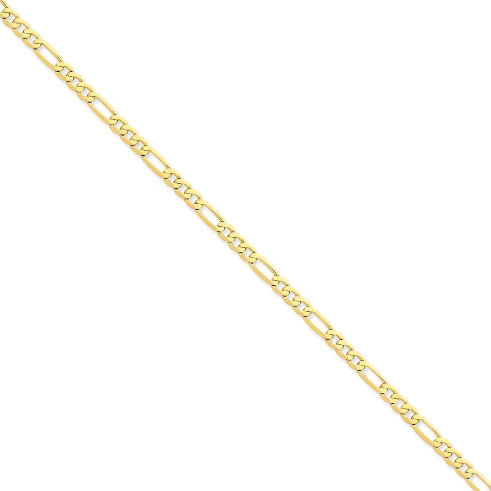 Bracelets 14k Yellow Gold 4.75-mm Flat Solid Figaro Chain