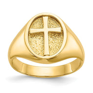 Rings 14k Yellow Gold Polished Eternal Life Cross Ring