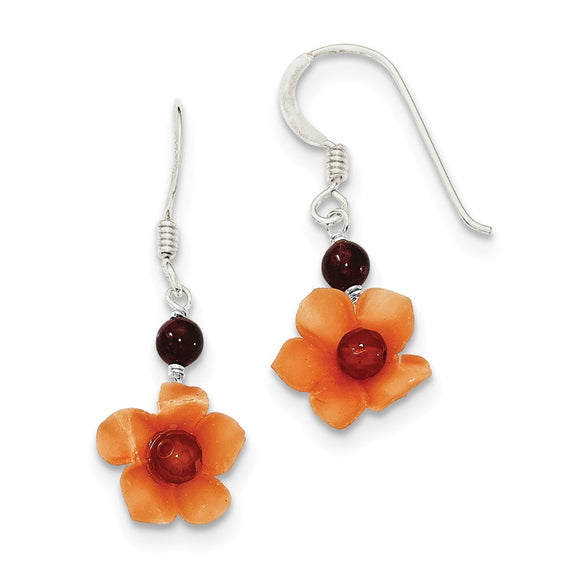 Silver Garnet Carnelian Dangle Flower Earrings