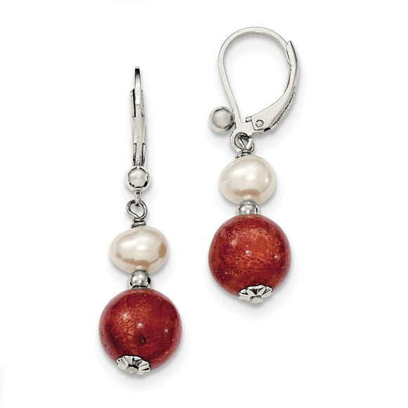 Silver Pearl Stabilized Red Coral Earrings