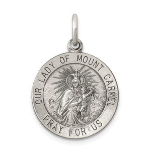 Pendants & Charms Sterling Silver Antiqued Our Lady of Mount Carmel