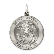 Pendants & Charms Sterling Silver Antiqued Saint Michael Medal