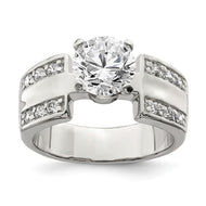 Ring Sterling Silver Solitaire Cubic Zirconia Ring