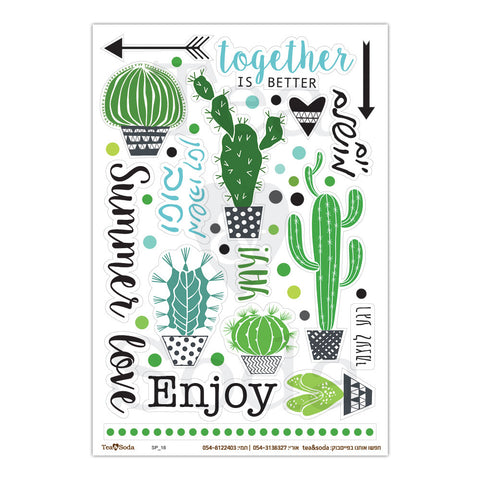 Planner stickers - Cactus and words