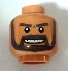 Minifig, Head Beard Gray with White Pupils and Grin with