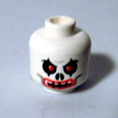 White Minifig, Head Skull Evil with Red Eyes and Red Lips