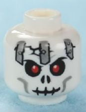 Minifig, Head Skull Cracked with Metal Plates Pattern