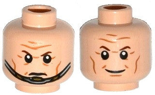 Minifig, Head Dual Sided Brown Eyebrows, Cheek Lines