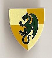 Shield Triangular with Dark Green Dragon