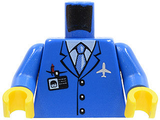 Torso Airplane Crew Male, Light Blue Tie, Red Pen, Silver