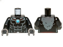 black torso bare chest with muscles, dark bluish gray cape