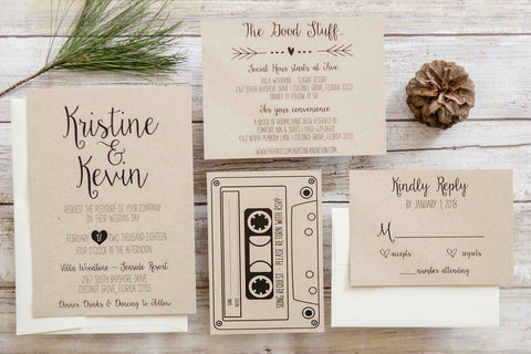 Kraft wedding invitation with details card and DJ playlist RSVP card