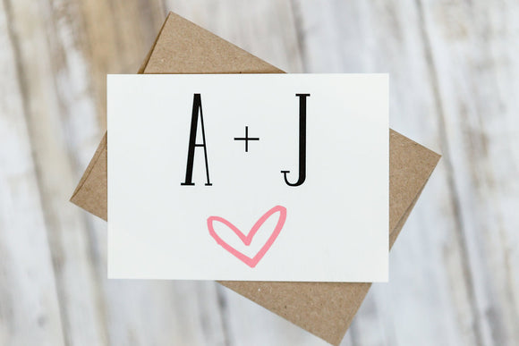 Initials and Heart Wedding Thank You