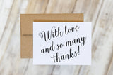 With Love and So Many Thanks Wedding Thank You Card Set of 10