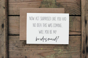 Surprised Wedding Party Card