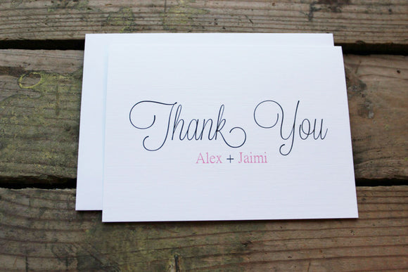 Wedding thank you cards bride and groom first names