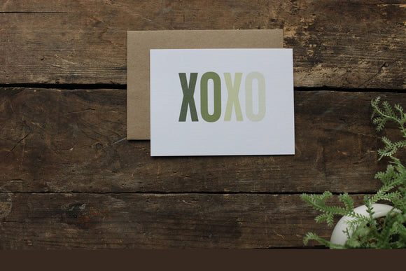 XOXO Green Ombre Thank You Cards Set of 10