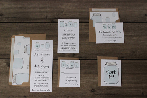mason jar wedding invitation for rustic barn weddings