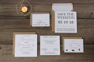 Rustic square wedding invitation with envelope liner