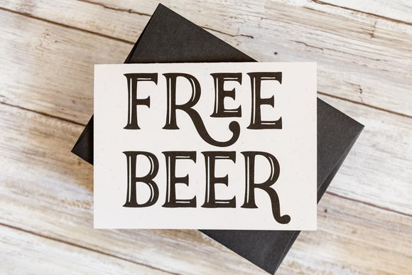 Free Beer Funny Groomsmen Card