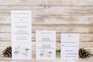Tall Floral Wedding Invitation