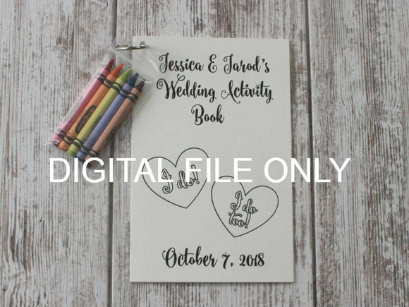 DIGITAL Personalized Wedding Coloring Activity Book