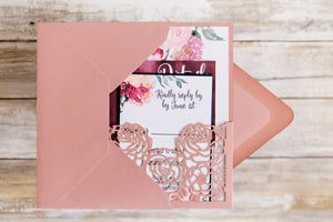 Dusty rose laser cut wedding invitation with watercolor florals