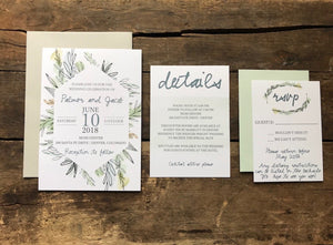 watercolor greenery botanical wedding invitation