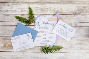 Dusty Blue and Lavender Wedding Invitation