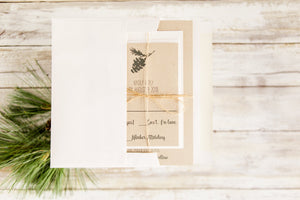 Cream Rustic Wedding Invitation