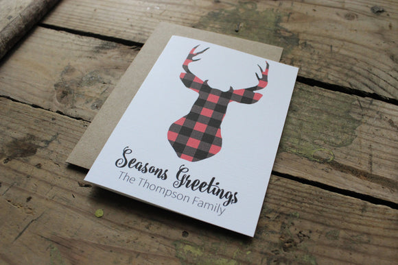 Reindeer Plaid Christmas Cards