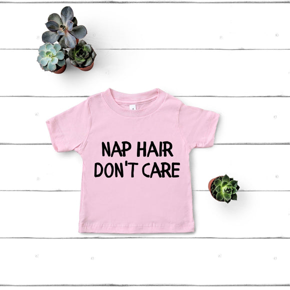 Nap Hair Don't Care Funny Kids Shirt